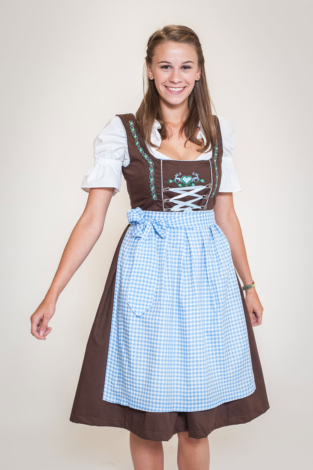 dirndl set 3tlg braun blau kleid bluse sch rze 32 bis 54 ebay. Black Bedroom Furniture Sets. Home Design Ideas