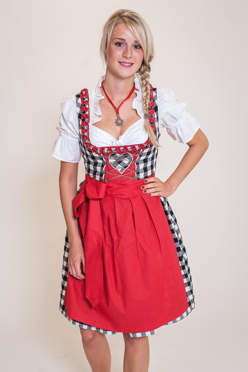 dirndl set 3tlg schwarzwei kariert rot kleid bluse. Black Bedroom Furniture Sets. Home Design Ideas